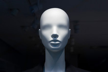 A Close-up Of A Mannequin's Head In A Window Of A Mall On The Dark Background With Switched Off Electric Lamps On The Ceiling. Copy Space.