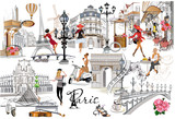 Fototapeta Paryż - Set of Paris illustrations with fashion girls, cafes and musicians. Vector illustration.