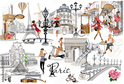 Set of Paris illustrations with fashion girls, cafes and musicians фототапет
