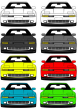 Illustration Of Front Part Old Japanese Cars Set On White Background