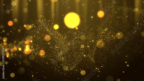 gold abstract particle flow award presentation with glitter effect on dark simpl Fototapet