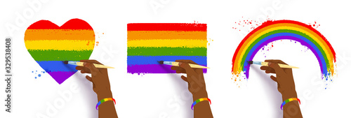 Hands drawing LGBTQ flags color banners Wallpaper Mural