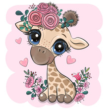 Giraffe With Flowers On A Pink Background