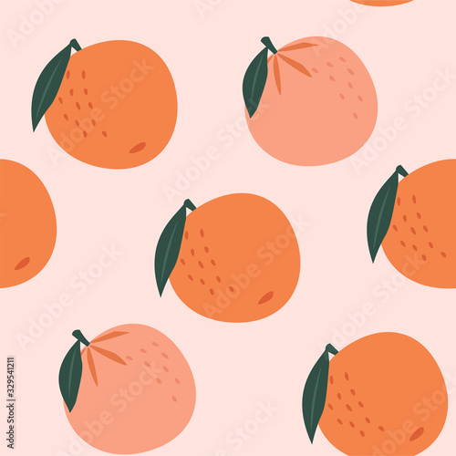 Abstract tropical seamless patter with stylized oranges. Vector colored design. - 329541211