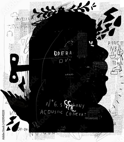Image of a man who sings, opening his mouth Wallpaper Mural