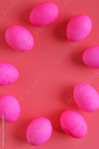 Fototapety, obrazy: vertical frame of Easter Eggs On Pink Background, flat lay