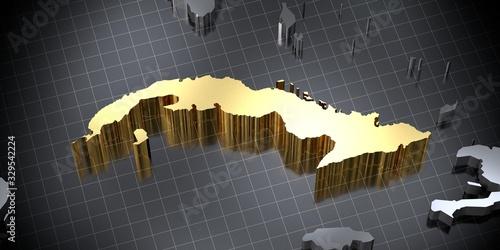 Cuba - country shape - 3D illustration Wallpaper Mural