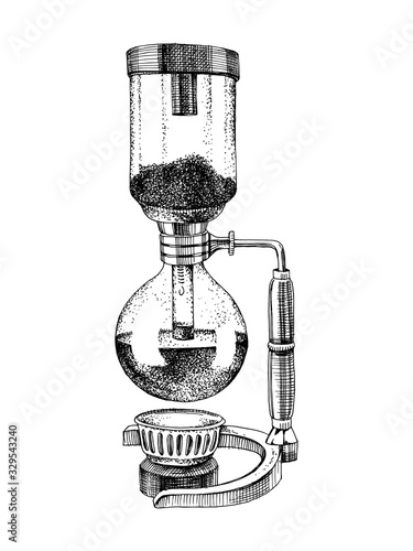 Vászonkép Hand drawn siphon coffee maker icon. Vector illustration