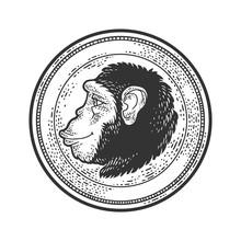 Monkey Profile Coin Sketch Eng...