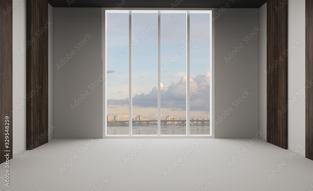 Obraz Large interior in an office building. modern design. 3D rendering. fototapeta, plakat