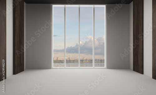 Fototapeta Large interior in an office building. modern design. 3D rendering. obraz