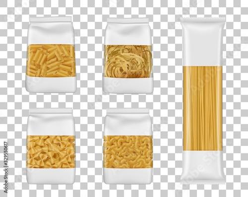 Fototapeta Italian pasta food package mockups. Foil or plastic bags with clear windows realistic vector Italian macaroni, spaghetti and farfalle packs, penne, elbow and tagliatelle packets obraz