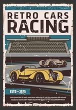 Retro Racing Cars On Track. Ra...