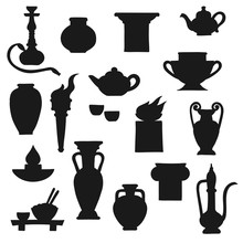 Ancient Pottery Vector Black S...