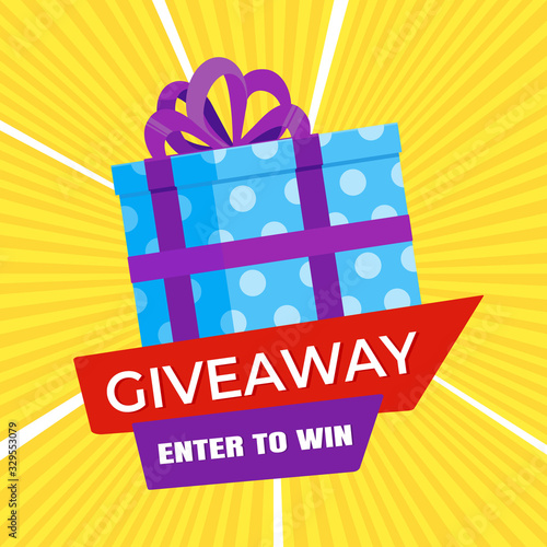 Foto Giveaway gift concept for winners in social medias flat style design vector illustration