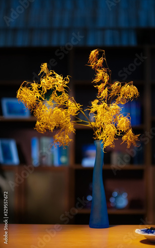 A bouquet of yellow plants in a vase on the table with blurred bookshelf background