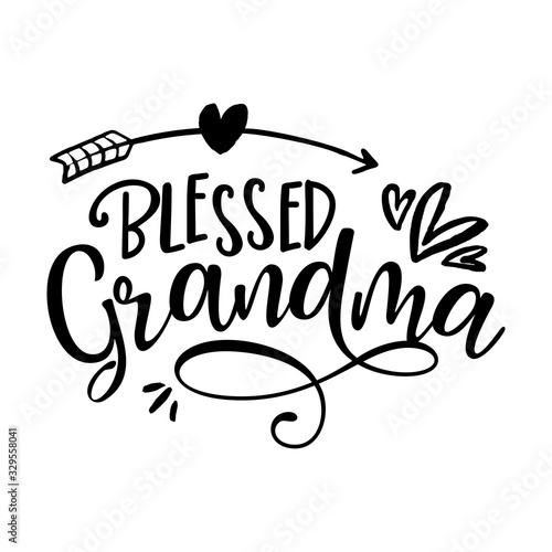 Blessed Grandma - funny vector quotes with hearts and arrow Canvas Print