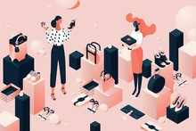 Fashion Accessorie Shop In Isometric Style. Girls Or Young Women Choosing Shoes And Bags. Pink And Black Concept Illustration