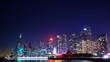 Beautiful Chinese city night scene; buildings and lake surface