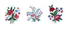 Embroidered Three Bouquets Of ...