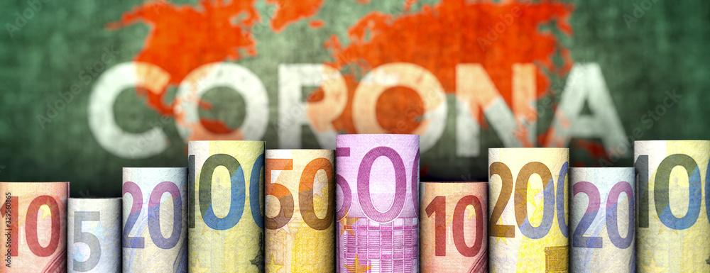 Fototapeta Coronavirus und Geld (Euroscheine)