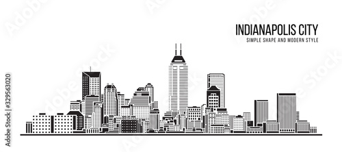 Cityscape Building Abstract Simple shape and modern style art Vector design - indianapolis city