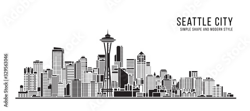 Cityscape Building Abstract Simple shape and modern style art Vector design - se Fotobehang