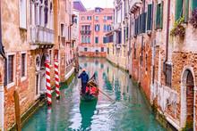 Traditional Scenic Canal Street With Venetian Gondola In Venice, Veneto, Italy