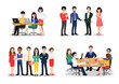 Office worker set. Bundle of men and women taking part in business meeting, negotiation, brainstorming, talking to each other. Colorful vector illustration in flat cartoon style