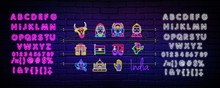 Country India Neon Icons In The Collection Set For Design.India And Landmark Vector Symbol Stock Web Illustration.Neon Vector Banner With Text On A Dark Background.