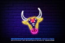 Neon Cow Symbol. The Sacred Hi...