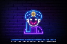 Neon Sign Of A Hindu In A Turb...