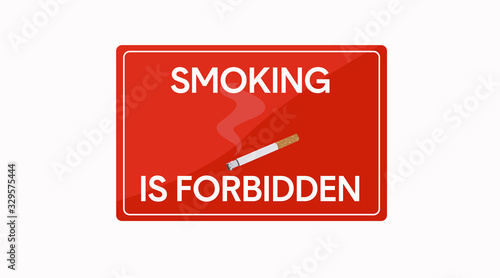Red Vector Isolated Smoking is Forbidden Sign Icon Wallpaper Mural