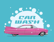 Carwash Service Concept Illustration With Side View Cartoon Retro Pink Car And White Soap Bulbs And Car Wash Caption. Vector Illustration.