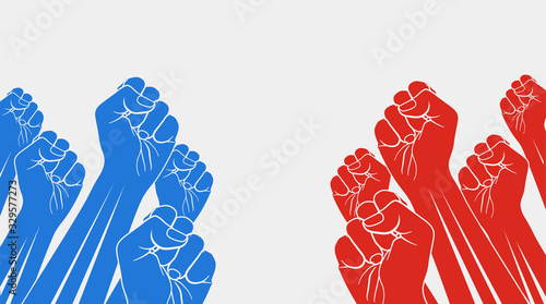 Fototapeta Group of red raised fists against group of blue raised fists, isolated on white background. Confrontation, opposition concept. Vector illustration. obraz
