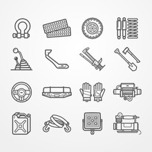 Set Of Off-road And Overland Car Equipment Icons. Shackle Sand Track Wheel Suspension Gearbox Snorkel Jack Shovel Hatchet Bumper Gloves Winch Fuel Tow Strap Light Compressor. Vector Stock Image.