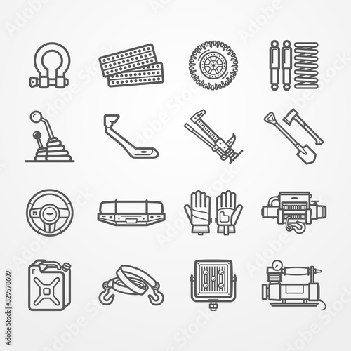 Fotomural Set of off-road and overland car equipment icons