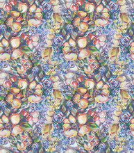 Colorful Seamless Pattern Made Of Painting Of Flower Bouquet.  Impressionism Style. Hand Painted With Gouache. White Isolated Backgroung..