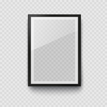 Frame Mockup Template Isolated On Transparent Wall Background. Realistic Blank Vertical Picture Or Photograph Border. Vector Glass Black Photoframe For Interior Artwork Design..