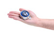 Hand holding new auto engine rollers on white background isolation