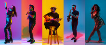 Collage Of Portraits Of Young Emotional Talented Musicians On Multicolored Background In Neon Light. Concept Of Human Emotions, Facial Expression, Sales. Playing Saxophone, Guitar, Singing, Dancing.