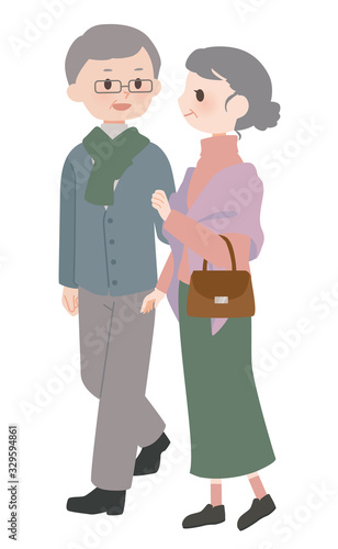 Fototapeta おでかけ中の老夫婦