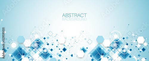 Template for science and technology presentation. Plexus style background.