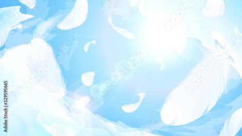 Tela 空に舞う羽根の背景イラスト_16:9
