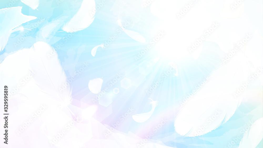 Fototapeta 虹色の空に舞う羽根の背景イラスト_16:9
