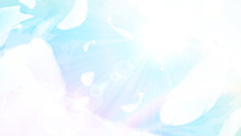 虹色の空に舞う羽根の背景イラスト_16:9