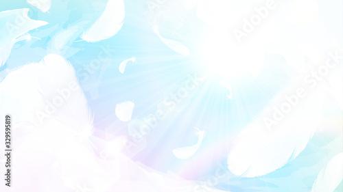 Tela 虹色の空に舞う羽根の背景イラスト_16:9