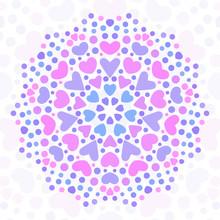 Round Mandala Made Of Hearts; ...