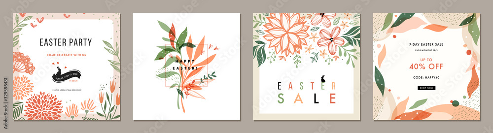 Fototapeta Trendy Easter floral square templates. Suitable for social media posts, mobile apps, cards, invitations, banners design and web/internet ads.