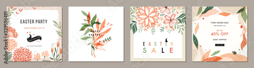 Obraz Trendy Easter floral square templates. Suitable for social media posts, mobile apps, cards, invitations, banners design and web/internet ads.  - fototapety do salonu